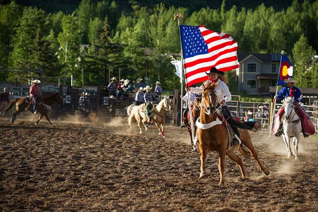 Riders circled the rodeo ring Wednesday, June 14 for the opening of the Snowmass Rodeo.