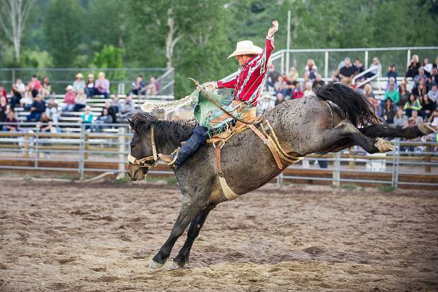 Garrett Buckley after winning the saddle bronco competition at the first Snowmass Rodeo of the summer on June 14.