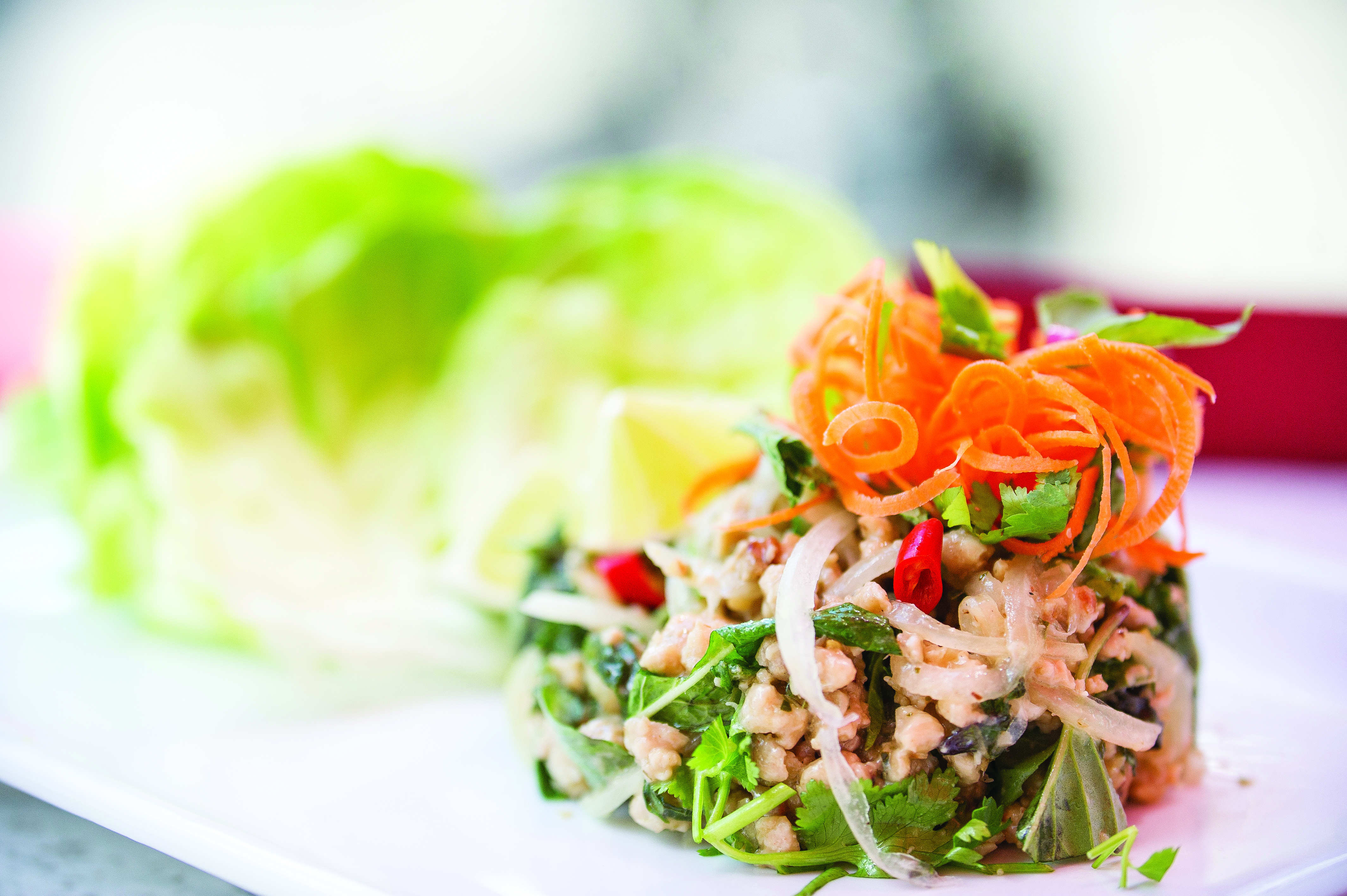 Lemongrass Chopped Chicken with Lettuce Cups