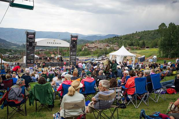 The crowd at the Snowmass concert on July 6 featuring the bluegrass band, Head for the Hills.