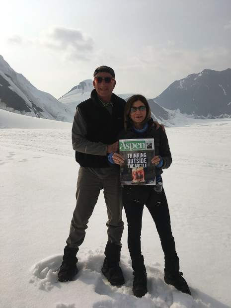 Readers Michael and Susan Davidoff display an Aspen Times Weekly while on a recent trip to Denali National Park and Preserve in Alaska. The married couple, who are part-time Aspen residents from Dallas, flew in a small single-engine plane to land on the Eldridge Glacier, which is located in Denali.