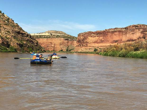 The group rafting on the Colorado River during their trip this week.