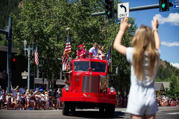 A float in the Aspen parade on Tuesday.