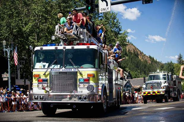 The Basalt fire truck float in the Aspen parade on Tuesday.