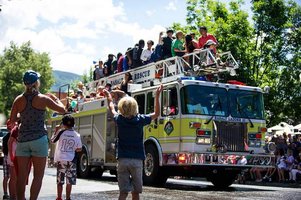 The Basalt Fire Rescue float in the Aspen parade on Tuesday.