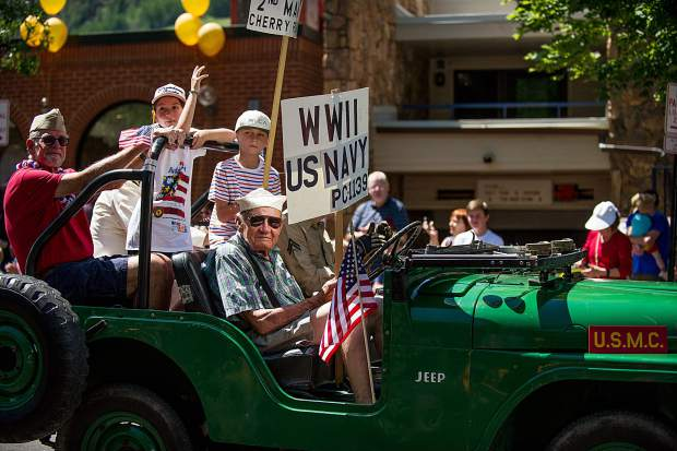 Veterans in a float on Hyman Ave. in Aspen during the parade on Tuesday.