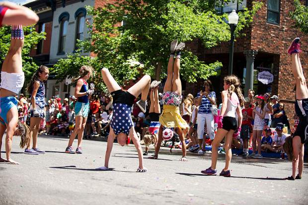 Aspen Gymnastics performing in the parade on Tuesday.