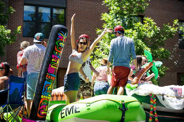 Elk Mountain Expeditions float in the parade in Aspen on Tuesday.
