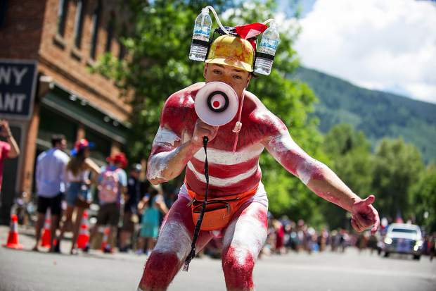 Jordan Reitsma in the parade in Aspen on Tuesday.