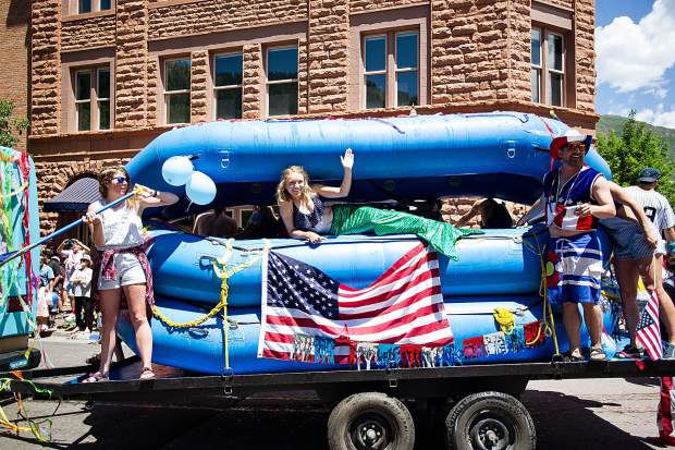The Blazing Adventures float on Hyman Ave. in Aspen's parade on Tuesday.