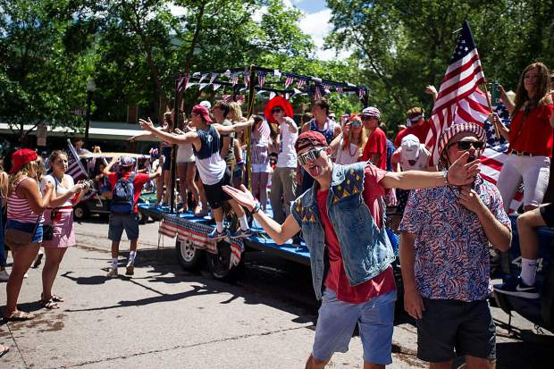A float in Aspen's parade on Tuesday.