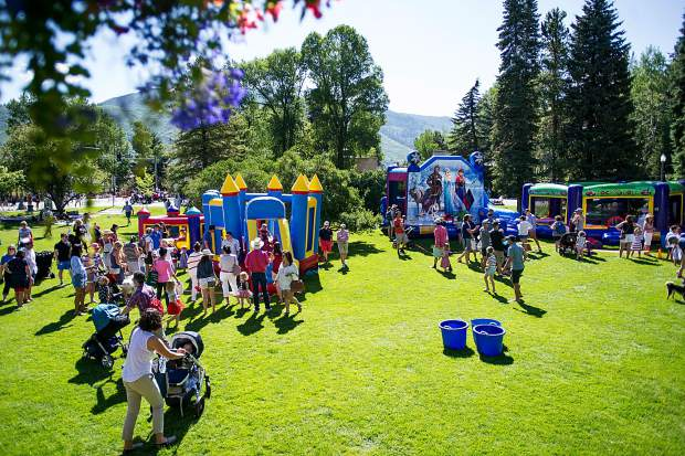 The party at Paepcke Park before the parade on Tuesday in Aspen.