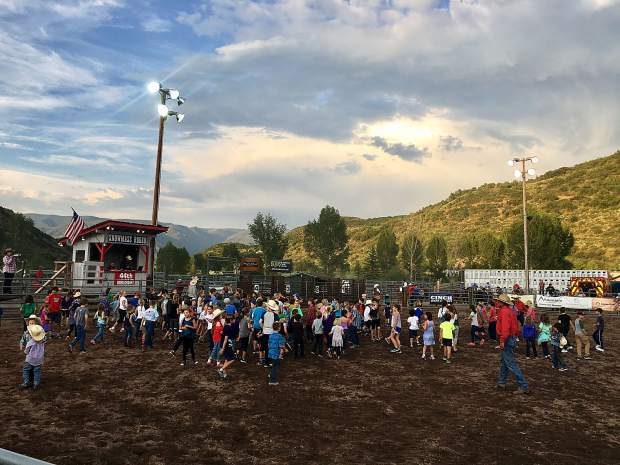 Children participate in the Calf Scramble at the 44th annual Snowmass Rodeo on July 5.