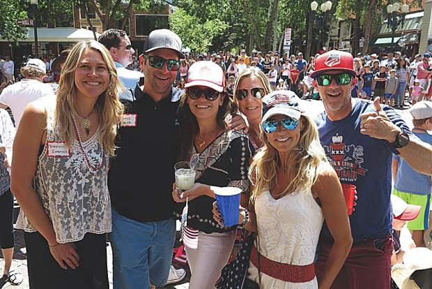 Vanessa Stranger, James and Julie Young, Deb Doyle, Christy Farrey and Pat Doyle at the parade.