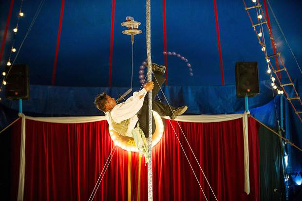A circus performer entertains at the Zoppe's first show in Snowmass during their 2017 Colorado summer tour.