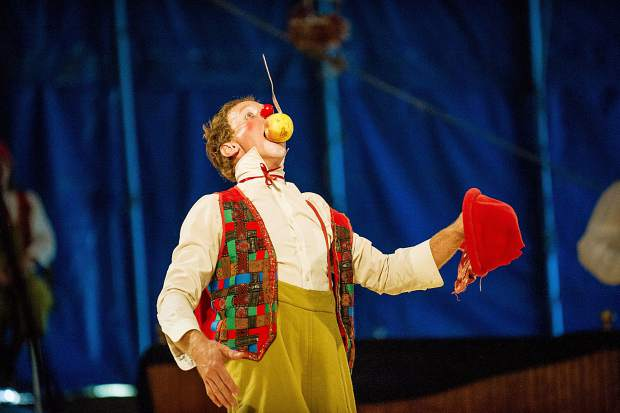 One of the clowns performs.
