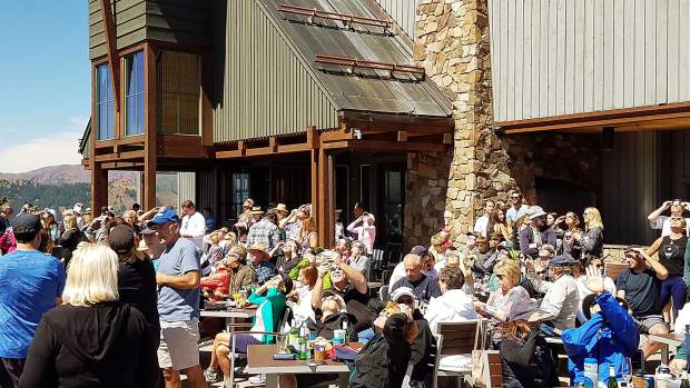 Hundreds of people went to the top of Aspen Mountain on Monday to watch the solar eclipse from the Sundeck.