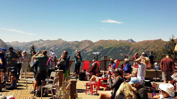 Hundreds of eclipse-watchers went to the top of Aspen Mountain on Monday morning to check out the event from the Sundeck.