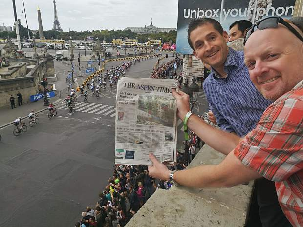 Readers Mark Devlin and Dr. Eric Haynie posed for a photo with the Aspen Times while taking in the Tour de France from the U.S. Embassy in Paris.