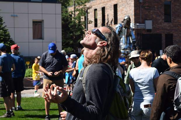 Aspen resident Monte Love reveled in Monday's ecliptic event put on by Aspen Science Center and Pitkin County Library in the Galena Plaza.