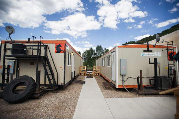 Trailers at the temporary Snowmass fire department area.
