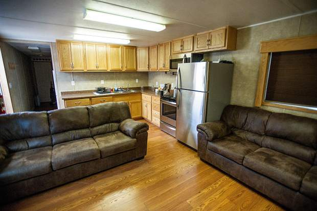 A common area in a trailer at the temporary Snowmass fire department area.
