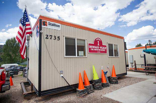 The office trailer at the temporary Snowmass fire department area.