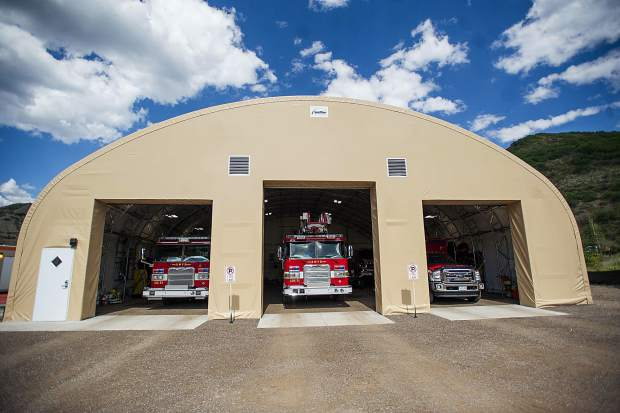 The temporary Snowmass fire department area.