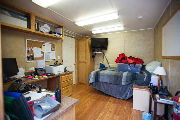 A bedroom in a trailer at the temporary Snowmass fire department area.