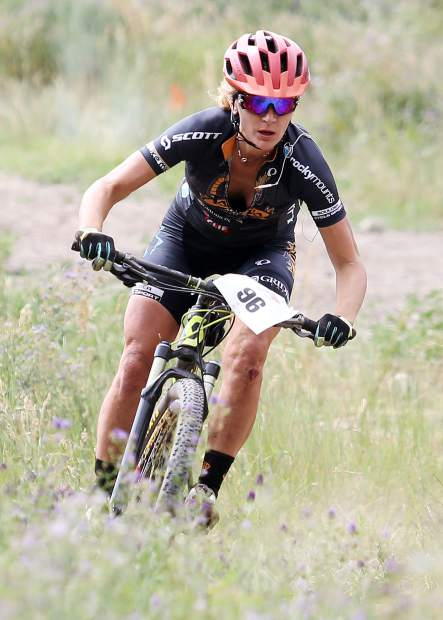Avon's Gretchen Reeves approaches the finish of Saturday's Audi Power of Four mountain bike race at the base of Aspen Mountain. She was the top female finisher, completing the race in 3:47:13.3 for her third Power of Four victory in five years.