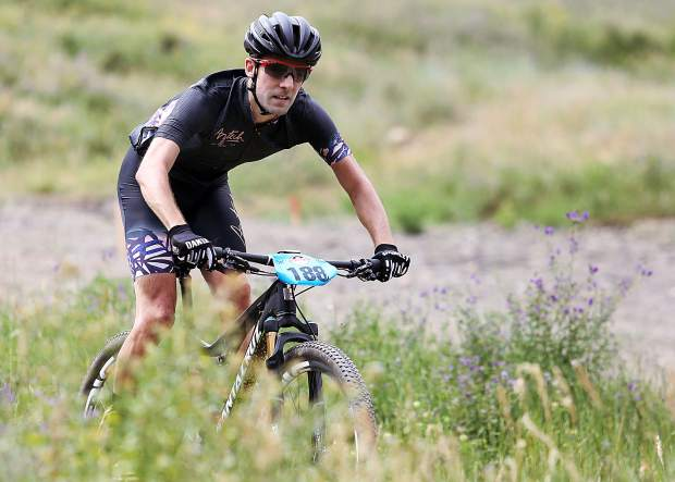 Aspen's Michael Shea approaches the finish of Saturday's annual Audi Power of Four mountain bike race. He finished 12th overall.