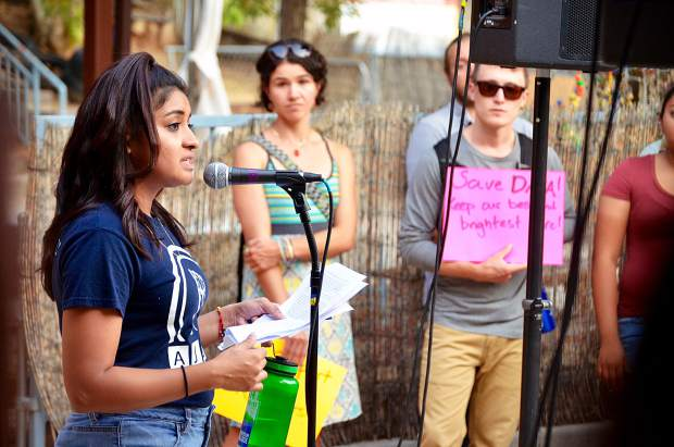 Anahi Araiza, a Dreamer with the activist group AJUA, leads a rally at Colorado Mountain College in Glenwood Springs protesting the revocation of Deferred Action for Childhood Arrivals program. The underlying message focused on the need for the 2017 Dream Act to pass quickly, providing permanent protection for dreamers.