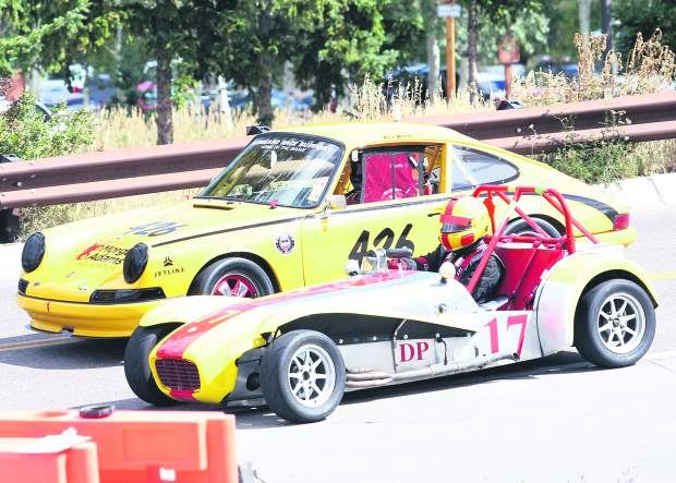 Cars race around the track Thursday for the Rocky Mountain Vintage Racing Aspen Snowmass Vintage Car Race in Snowmass Village. This was the inaugural year for the Snowmass Street Race.