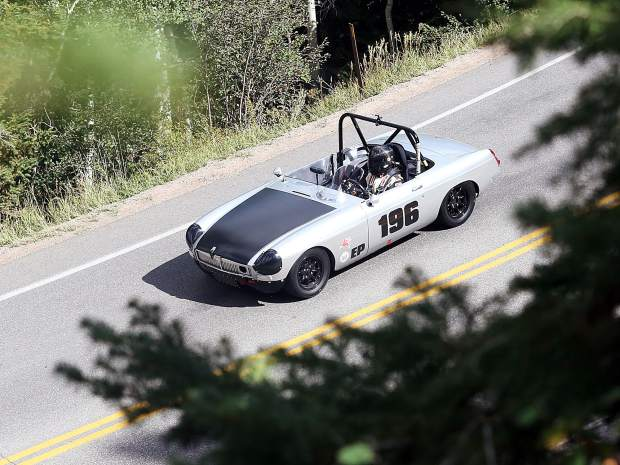 A car cruises around the track Thursday for the Rocky Mountain Vintage Racing Aspen Snowmass Vintage Car Race in Snowmass Village. This was the inaugural year for the Snowmass Street Race.