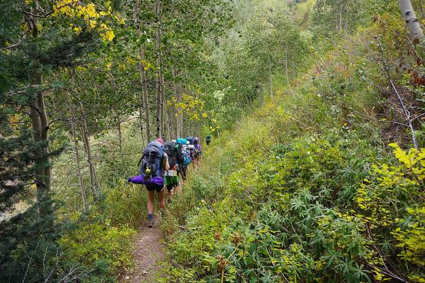 Aspen eighth-graders set off on a 25-mile backpacking trip as part of the 2016 Outdoor Education program, which is celebrating its 50th trip this year.