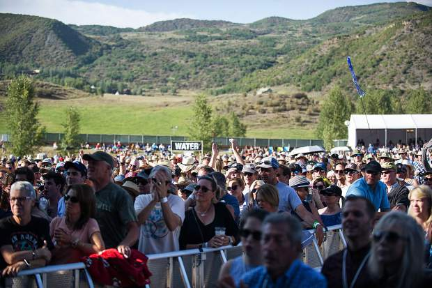 The crowd Saturday afternoon in Snowmass during Nathaniel Rateliffe and the Night Sweats at the JAS Aspen Snowmass Labor Day Experience.