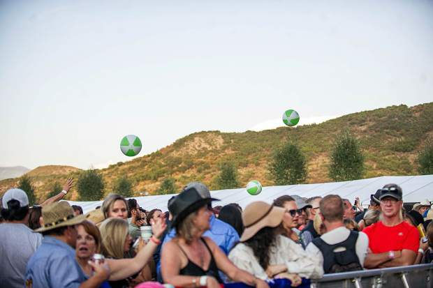 Beach balls flying high in the general admission crowd Saturday night for the JAS Aspen Snowmass concerts.