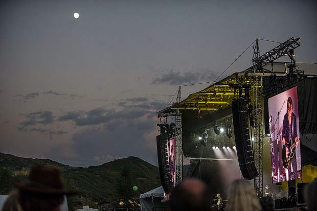 The moon was high and bright during Keith Urban's performance at JAS Aspen Snowmass Labor Day Experience on Saturday.