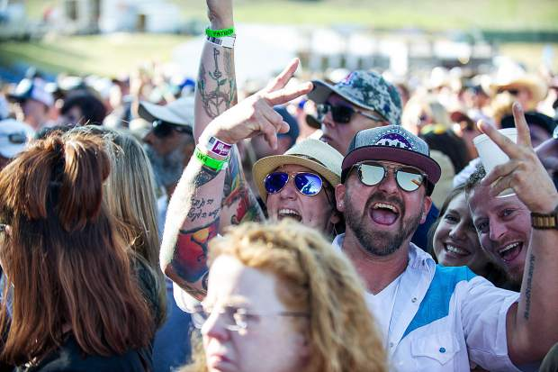 Excited fans at the Nathaniel Rateliffe and the Night Sweats concert on Saturday in Snowmass for the JAS Aspen Snowmass Labor Day Experience.