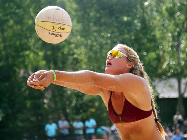 Cassie House gets in position for a dig in the women's open finals Monday at the 45th annual MotherLode Volleyball Classic at Koch Lumber Park in Aspen.