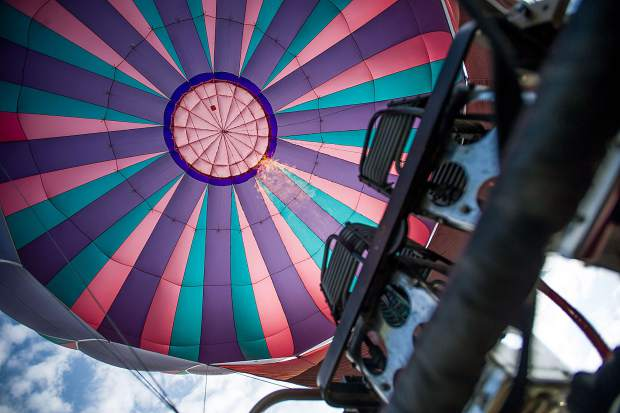 The inside of the Laffy Taffy hot air balloon at the Snowmass 42nd Annual Balloon Festival on Friday morning.