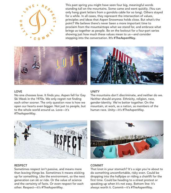 The Aspen Snowmass website explains the new print and advertising campaign.