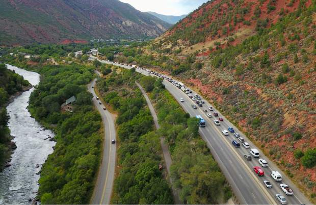 Traffic backs up south of Glenwood Springs on Aug. 14, the first day of the Grand Avenue bridge detour. Colorado Department of Transportation officials say that Aug. 14 and 15 were the worst days for traffic backups, as commuters discovered the impact of the bridge construction on their travel plans.
