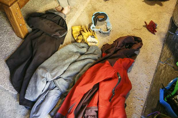 Several clothing layers with gloves and ski googles that Shuei Kato used during his three nights and four nights lost in the Colorado 14er backcountry. The 36-year-old Silverthorne resident managed to avoid frostbite and much more than a minor sunburn and chapped lips.