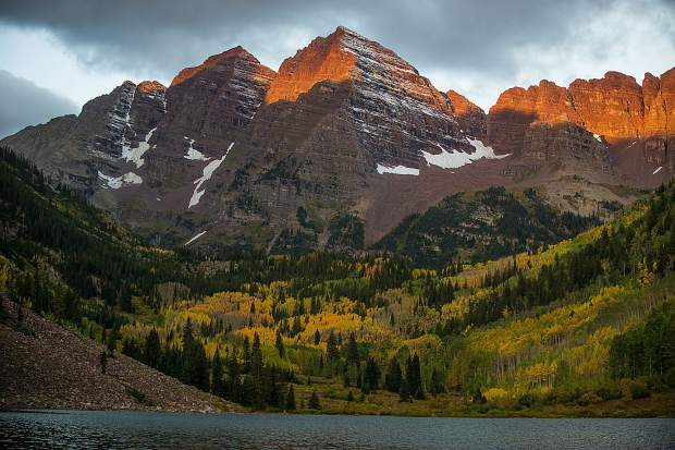 The Maroon Bells in Aspen, Colorado on the morning of September 20, 2017.