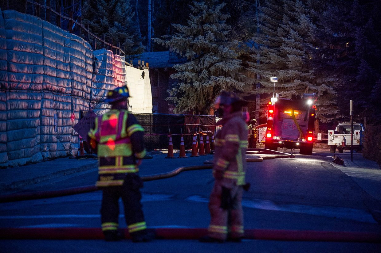 Aspen Fire crews responded Wednesday night to a gas line break at the hotel construction site on Spring Street and Durant Avenue. The former Sky Hotel is being replaced by a W Hotel.