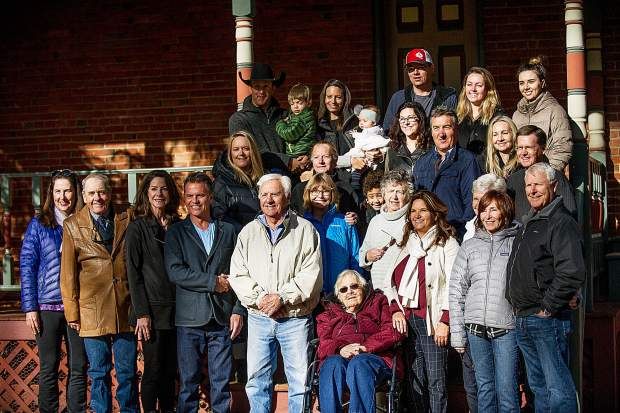 Three generations of Stapletons pose for a family photo at the Aspen Historical Society building on Saturday morning.