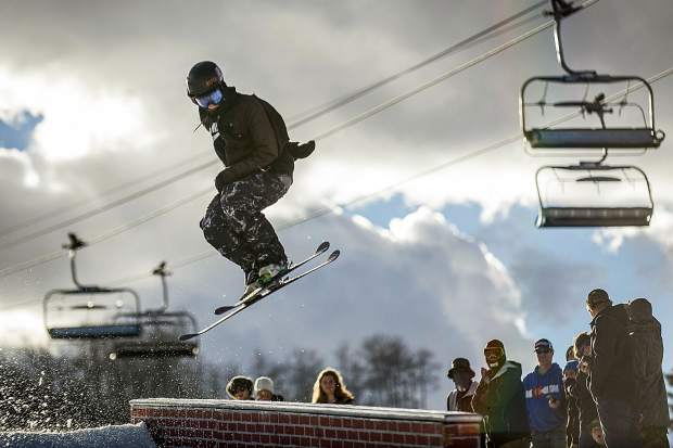 Cassidy Jarrell spins onto a rail at the annual Thanksjibbing Rail Jam hosted by Bud Light at Snowmass Mountain on November 24, 2017. Jarrell placed third with two other locals on the podium with him.