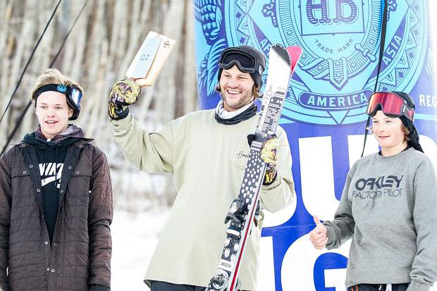 The podium for the Bud Light annual Thanksjibbing Rail Jam on November 24, 2017 at Snowmass Mountain. The ski podium was all locals with Charlie Lasser in first, Tristan Feinberg, second, and Cassidy Jarrell, left, in third.
