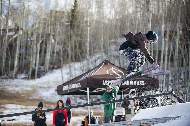 Cassidy Jarrell spins onto a rail at the annual Thanksjibbing Rail Jam hosted by Bud Light at Snowmass on Nov. 24. Jarrell placed third at the podium.